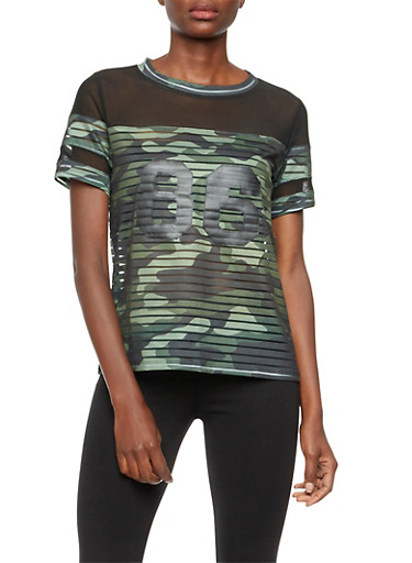 Camo Print Shadow Stripe Top with Mesh Paneling,DARK OLIVE,large