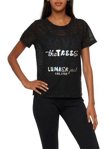"Burnout T Shirt with ""Save the Trees"" Graphic,BLACK,large"
