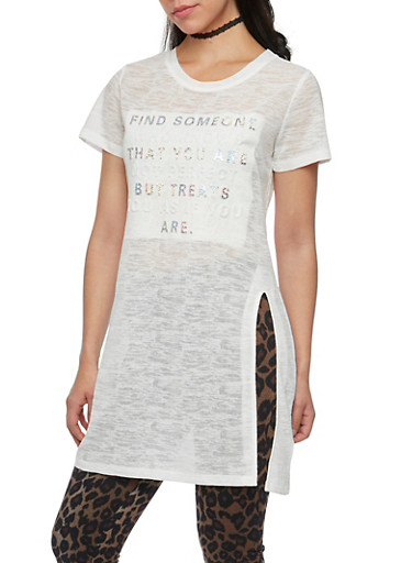 Burnout Tunic Top with Glitter Embossed Print,WHITE,large