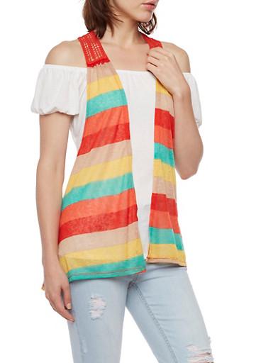 Off The Shoulder Top with Striped Vest Overlay,ORANGE MULTI,large