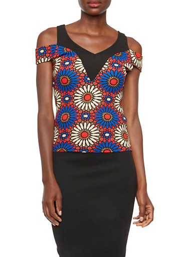 Cold Shoulder Top with Geometric Floral Paneling,ROYAL/CORAL,large