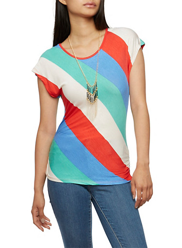 Striped Top with Removable Necklace,MINT/BERRY/BLUE,large
