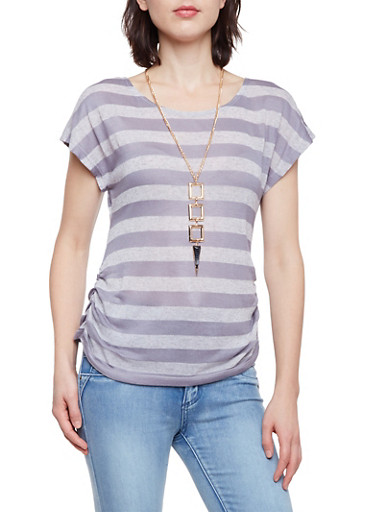 Striped Knit Top with Ruched Sides and Necklace,CHARCOAL,large