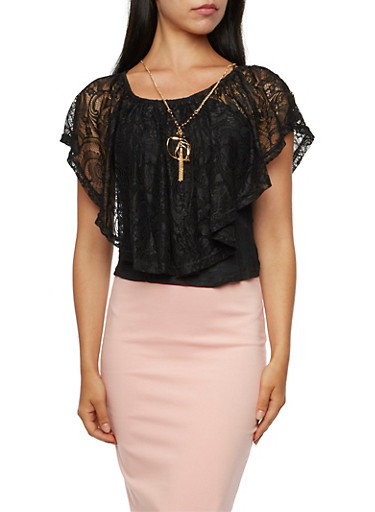 Lace Flutter Overlay Top with Necklace,BLACK,large