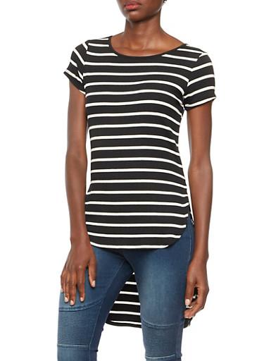 Rib-Knit Top with Horizontal Stripes,BLACK/WHITE,large