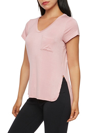 High-Low Top with Bust Pocket,BLUSH,large