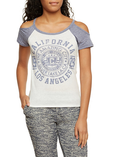 Cold Shoulder Raglan Tee with California Graphic,IVY/NAVY,large