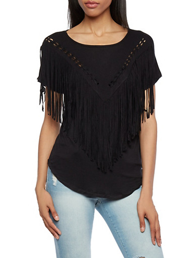 Braided Fringe Top with Short Sleeves,BLACK,large