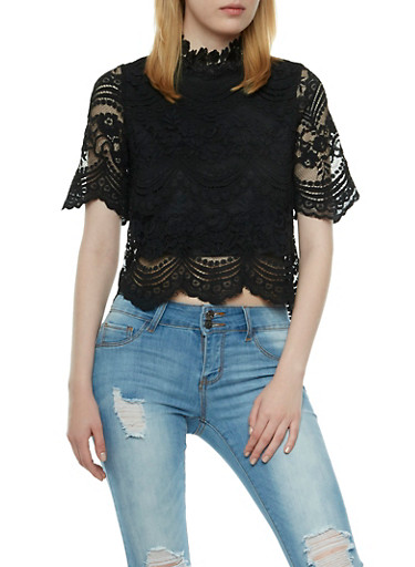 Mixed Lace Top,BLACK,large