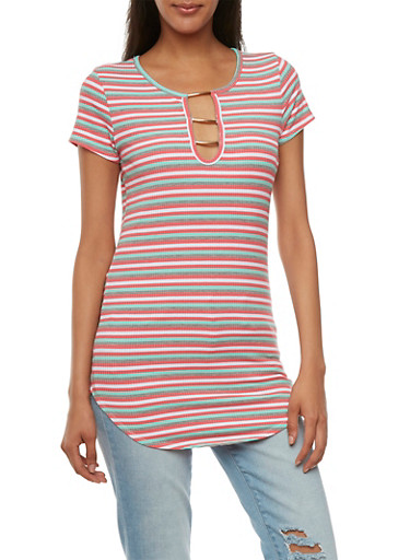 Striped Tunic Top with Bar Detail,CORAL/MINT,large