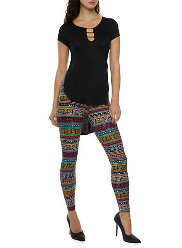 High-Low Top with Metallic Bar Accents at Bust,BLACK,large