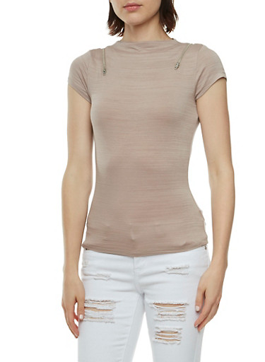 High Neck Top with Zipper Accents,MOCHA,large