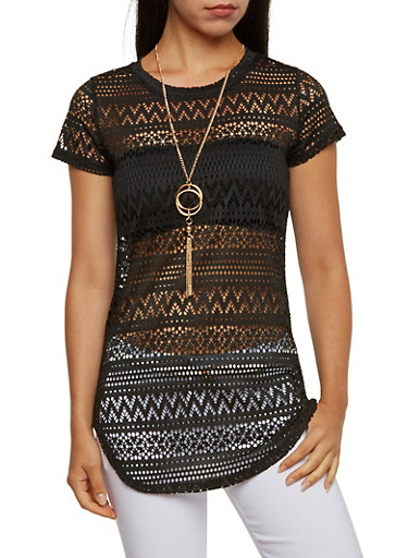 Crochet Tunic Top with Removable Necklace,BLACK,large