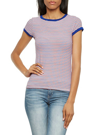 Striped Ringer Tee,RED/ROYAL,large