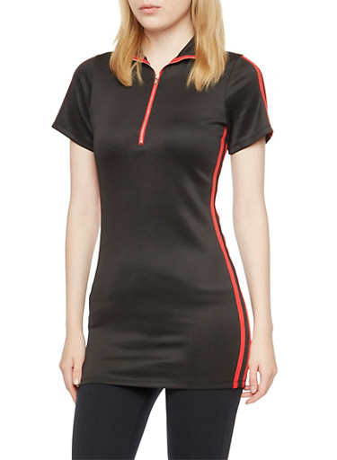 Tunic Top with Athletic Stripes and Front Zip,BLACK/RED,large