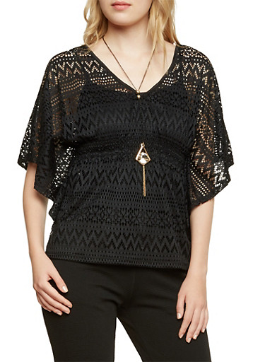 Crochet Top with Batwing Sleeves and Necklace,BLACK,large