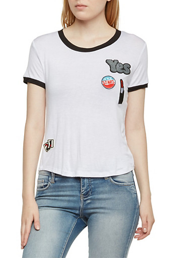 Ringer T-Shirt with Patches,WHT-BLK,large