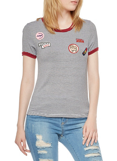 Striped Ringer T-Shirt with Roller Derby Patches,BLACK/WHITE,large