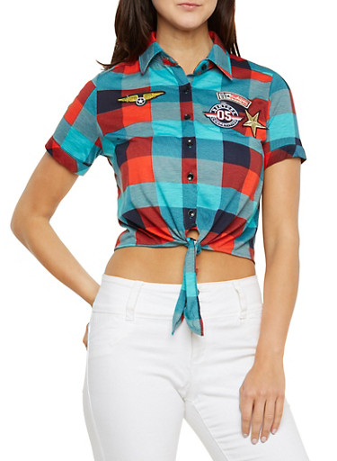 Plaid Button-Up Top with Military Patches,NAVY/JADE,large