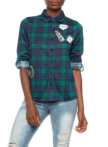 Plaid Top with Embroided Patches and Removable Pin,GREEN/NAVY,large