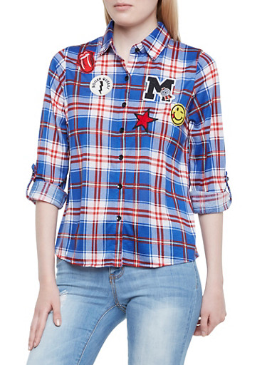 Plaid Button-Up Top with Cheeky Patches,RYL/BURG,large