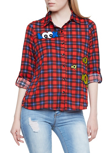 Plaid Button-Up with Cheeky Patches,RED/BLK,large
