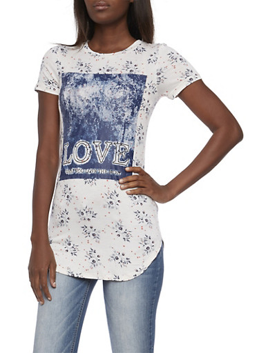 Floral Tunic Top with Love Graphic,IVORY,large