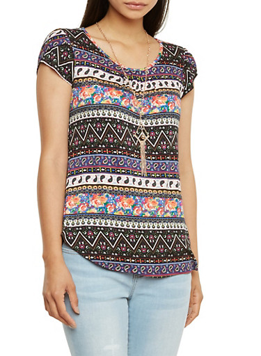 Printed Jersey Top with Removable Pendant Necklace,BLL/MULTI,large