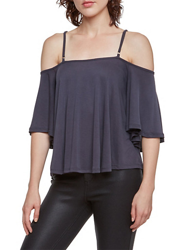 Off the Shoulder Top with Crisscross Back,CHARCOAL,large
