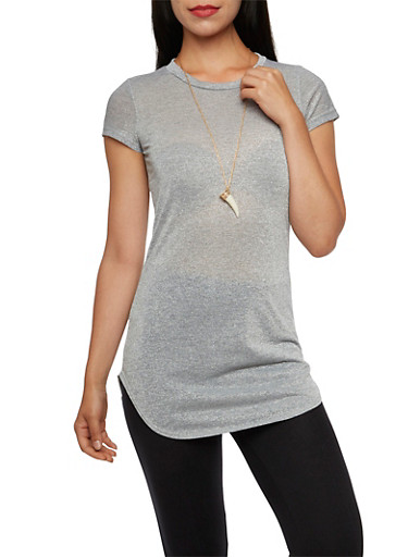 Lurex Round Hem Tunic Top with Necklace,GRAY/SILVER,large