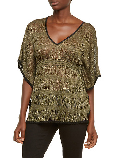 Metallic Bat Wing Top with Crochet Trim,BLACK/GOLD,large
