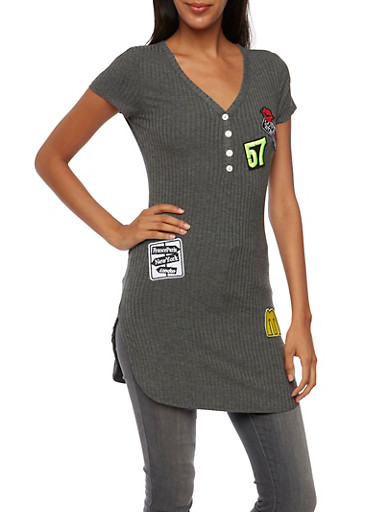 Ribbed Henley Tunic Top with Patches,CHARCOAL,large