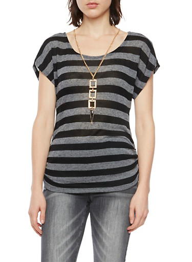 Striped Short Sleeve Top with Necklace,BLACK,large