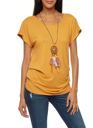 Ruched Top with Scoop Neck and Removable Necklace,MUSTARD,large
