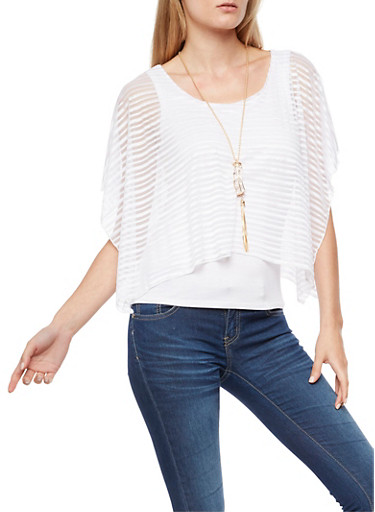 Sheer Striped Cold Shoulder Overlay with Necklace,WHITE,large