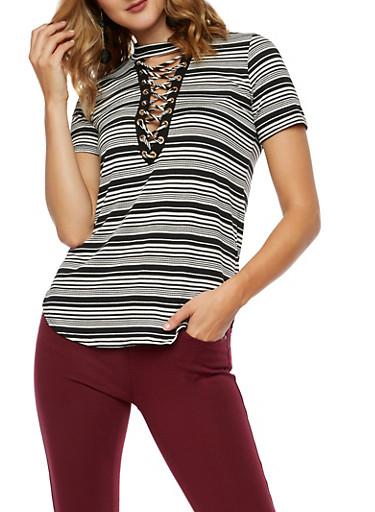 Striped Lace Up Choker Knit Top,BLACK/IVY,large