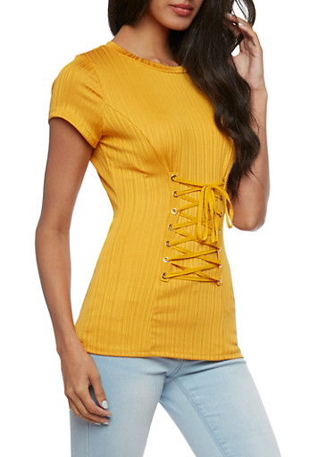 Short Sleeve Ribbed Knit with Corset Detail,MUSTARD,large