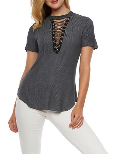 Short Sleeve Mock Neck Lace Up Top,BLACK,large