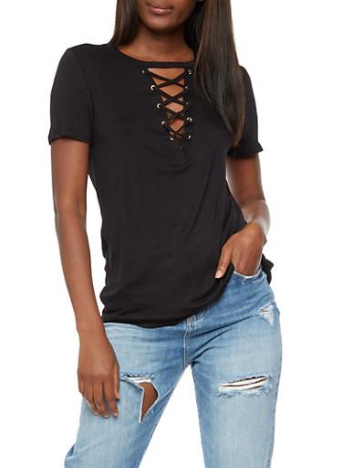 Lace Up T Shirt,BLACK,large