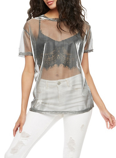 Mesh Lurex Short Sleeve Top,SILVER,large