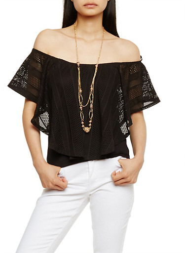 Off the Shoulder Crochet Overlay Top with Necklace,BLACK,large
