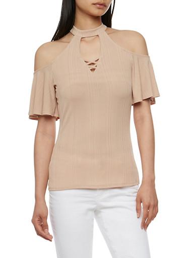 Cold Shoulder Choker Top with Flutter Sleeves,NUDE,large