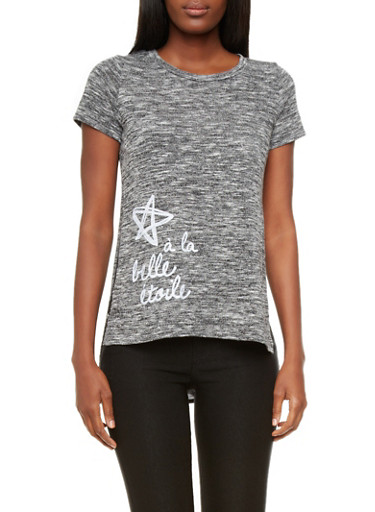 Marled Knit A La Belle Etoile Graphic Tee with High Low Hem,BLACK/WHITE,large