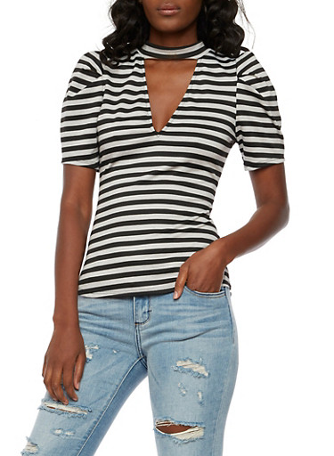 Striped Choker Neck Top,BLK/HEATHER,large