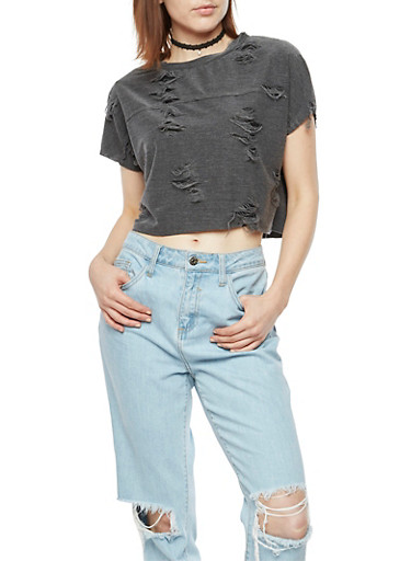 Shredded Crop Top,CHARCOAL,large