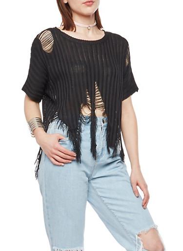 Ribbed Knit Shredded Short Sleeve Top,BLACK,large