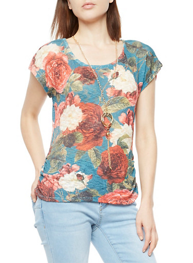 Floral Ruched Sides Top with Necklace,TEAL,large