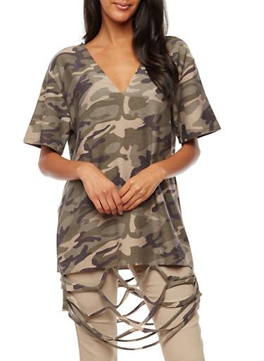 Slashed Camouflage Tunic Top,OLIVE,large