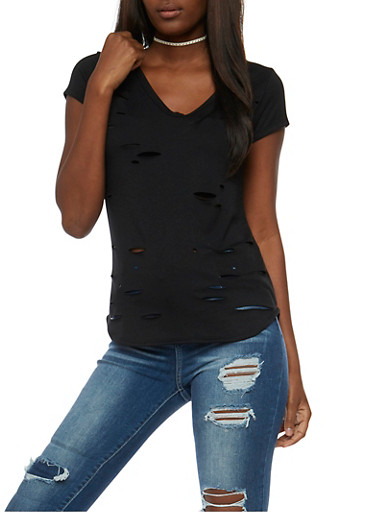 Short Sleeve V Neck Lasercut T Shirt,BLACK,large