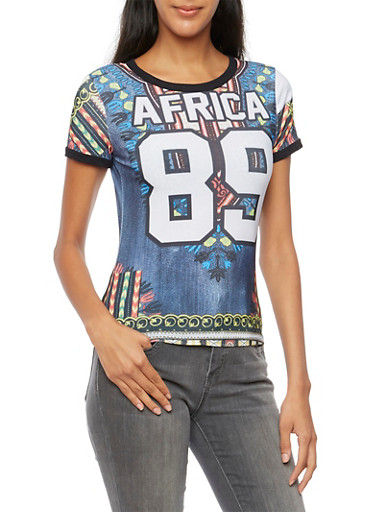 Dashiki Print Tee with Africa 89 Graphic,MULTI COLOR,large